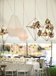 Pine shapes with flowers-geo wedding decor