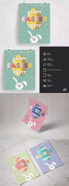 Happy Easter Egg Hunt For Kids Flyer Template PSD Flyer Templates