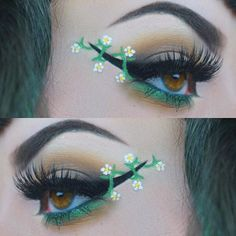 Winged eyeliner with the works - floral makeup via instagram | #vivid #mua