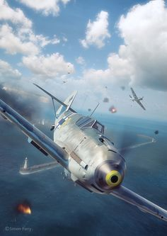 Commisioned illustration for Battle of Britain Combat Archive Vol. 2 by Simon Parry. models by Wojciech Kliment Niewęgłowski. Scene, textures and illustration by Piotr Forkasiewicz. Ww2 Aircraft, Fighter Aircraft, Military Aircraft, Fighter Jets, Luftwaffe, Airplane Fighter, Airplane Art, Aircraft Painting, Battle Of Britain