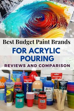 Best Paint for Acrylic Pouring by Brand – Options for any Budget! Fluid Art Tutorial and Acrylic Paint for Pouring revie… – resin crafts Pour Painting Techniques, Acrylic Pouring Techniques, Acrylic Pouring Art, Acrylic Painting Tutorials, Liquid Acrylic Paint, Flow Painting, Drip Painting, Painting Tips, Best Paint Brand