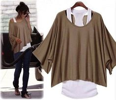 SET Longshirt Bluse Poncho Tunika + Top Shirt (2 in 1) 3 Farben Japan Style in Kleidung & Accessoires, Damenmode, Blusen, Tops & Shirts | eBay