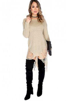 Sexy Tan Semi-Sheer Bateau Neckline Long Sleeve High-Low Hem Distress Detail Sweater Dress