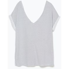 Zara V-Neck T-Shirt (2.775 HUF) ❤ liked on Polyvore featuring tops, t-shirts, shirts, stripe, t shirt, striped tee, striped t shirt, v neck shirts, t shirts and vneck t shirts