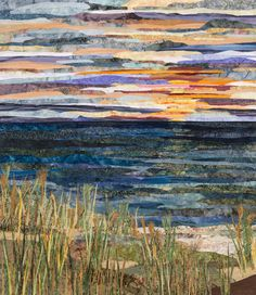 Arts Weekend special guest, and 2013 Art Prize Winner Anne Loveless -Beach Sunset Ocean Quilt, Beach Quilt, Landscape Art Quilts, Landscapes, Paper Collage Art, Thread Painting, Quilted Wall Hangings, Fabric Art, Textile Art