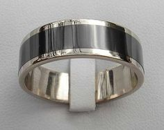 Mens Silver Wedding Ring with Satin Center and Polished StepDown