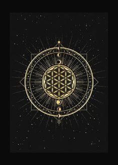 Flower of Life, sacred geometry art print in gold foil and black paper with stars and moon by Cocorrina Mandala Art, Flower Mandala, Sacred Geometry Symbols, Sacred Geometry Tattoo, Flower Of Life Tattoo, Life Flower, Flower Of Life Meaning, Flower Of Life Symbol, Flower Of Life Pattern