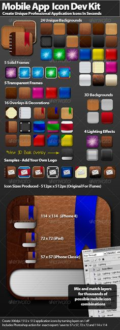 """Mobile Icon Development Kit This fully layered PSD file allows you to create professional looking icons to use as """"Home Screen"""" icons for your website or as application icons for native apps. Simply hide / show layers to create something unique. Thousands of combinations are possible."""