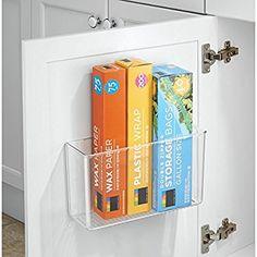 InterDesign 66140EU Affixx Selbstklebender Küchen-Organizer, Starke Haftkraft, Rückstandslos zu entfernen, Groß, durchsichtig