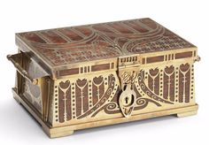 ERHARD & SÖHNE, Germany, Viennese Secessionist casket, brass with inlaid wood, 10 1/2in wide, 7in deep, 4in high