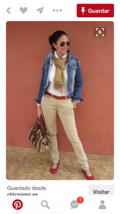 KT khaki tan skinny jeans, jean jacket red accessories