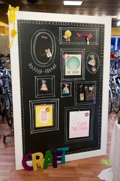 So adorable! Could use an old frame, chalk board paint on a chunk of metal. It would be chalk and magnetic! too cute!
