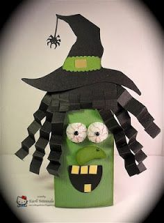 Witch Candy holder tutorial - love the way she made the eyes!