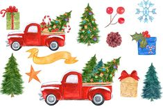 Watercolor Christmas truck clipart by vivastarkids on @creativemarket