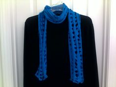 Dark Turquoise Slitted Scarf I made from a T-shirt.  I have the tutorial pinned onto my Scarves - DIY and Fashion Board.