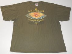 MASTODON Prevail and Ride Olive Green T Shirt 2XL XXL Blood Mountain Metal Band  #TennesseeRiver #GraphicTee