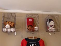 Boys Baseball Theme Kids Rooms - wire baskets