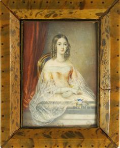 Antique Painting Signed Hand Painted Miniature Portrait of Young Lady | eBay
