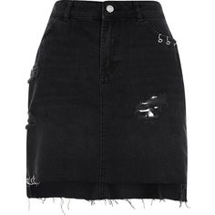 River Island Black ripped eyelet ring denim skirt (220 BRL) ❤ liked on Polyvore featuring skirts, black, women, distressed denim skirt, distressed skirt, high rise skirts, high-waisted skirts and denim skirt