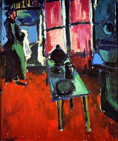 """Kitchen Interior Maurice de Vlaminck - 1904. Maurice de Vlaminck (París, 4 de abril de 1876 - Eure-et-Loir, 11 de octubre de 1958) fue un pintor fauvista francés. Vlaminck fue uno de los pintores que causaron escándalo en el Salón de otoño de 1905, que recibió el apelativo de """"jaula de fieras"""", dando nombre al movimiento del que formaba parte junto a Henri Matisse, André Derain, Raoul Dufy y otros."""