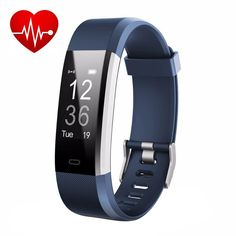 Fitness Tracker + Heart Rate Monitor Waterproof Smart Wristband With Pedometer Watch for Android