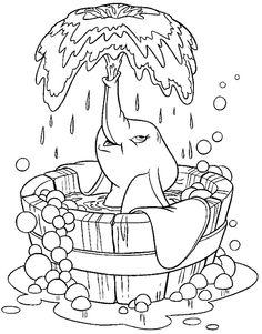 Kleurplaat dumbo olifant water wassen