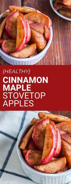 Maple cinnamon stovetop apples are the perfect seasonal apple recipe! Healthy, naturally sweetened and delicious. #applerecipe #healthyrecipe Healthy Vegan Desserts, Vegan Dessert Recipes, Healthy Eating Recipes, Vegan Breakfast Recipes, Healthy Meal Prep, Vegan Snacks, Dairy Free Recipes, Vegan Food, Vegetarian Recipes