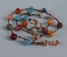 Agate, Jasper, and Turquoise Gemstone Knotted Beaded Necklace with Bare Copper Wire Clasp and Link and Irish Waxed Linen. 21 inch necklace.