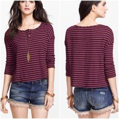 Free People striped Henley Finely striped Henley top with drop shoulder seams, easy to wear relaxed fit, button front, cotton- poly blend in a plum- berry color Free People Tops Button Down Shirts