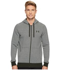 Under Armour Rival Eoe Fitted Full Zip In Artillery Green/artillery Green/artillery Green Under Armour Men, Hooded Jacket, Tights, Mens Fashion, Zip, Long Sleeve, Fitness, Green, Sleeves