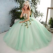 Formal+Evening+Dress+Ball+Gown+Strapless+Floor-length+Organza+/+Tulle+with+Appliques+/+Beading+/+Flower(s)+/+Lace+/+Sequins+–+GBP+£+163.99
