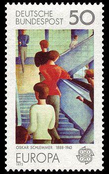 """Bauhaus Stairway"" by Oskar Schlemmer - on a postage stamp"