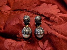Blackamoor Earrings (aged version) with baroque pearls in gold and silver, diamonds. Handmade. Dogale Jewellery venice Italia -