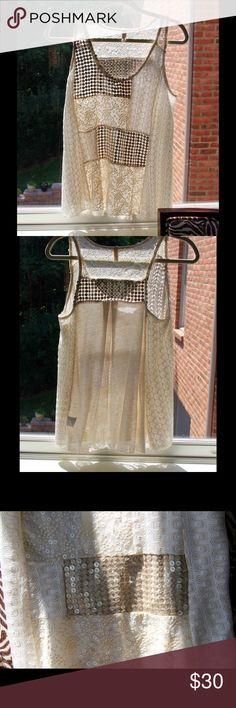 inJuly Sale ANTHRO TINY Golden Classic Boho Tank A mixed media lined top with sequins, beads, and lace-like shimmery patches. So pretty with a pair of white pants! Anthropologie Tops Tank Tops