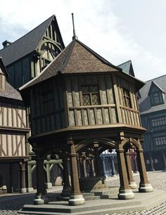 What our castle village buildings look like. Wooden Architecture, Timber Buildings, Interior Architecture, Minecraft Medieval, Cool Minecraft Houses, Medieval Houses, Medieval Town, Planet Coaster, A Frame House