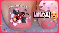 Flower Nail Designs, Toe Nail Designs, Design Youtube, Bright Red Nails, Nail Hardener, Red Nail Polish, Types Of Nails, Flower Nails, Manicure And Pedicure