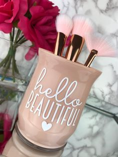 Makeup Brush Holder, Makeup Artist Gift, Makeup Vanity, Girly Decoration, Gift f. Makeup Tools, Makeup Brushes, Makeup Vanity Decor, Makeup Brush Case, Beauty Room Decor, Small Space Interior Design, Makeup Brush Holders, I Love Makeup, Hello Beautiful