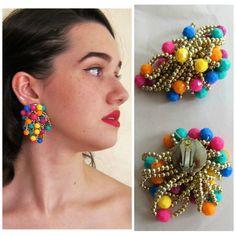 Vintage 1960s Oversized Earrings in Multicolored Strand Clips / 60s Neon Confetti Cage Mod Clip On Earrings by BasyaBerkman on Etsy