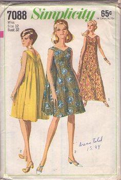 MOMSPatterns Vintage Sewing Patterns - Simplicity 7088 Vintage 60's Sewing Pattern GORGEOUS Mod Hawaiian Goddess Back Wateau Capelet Panel C...