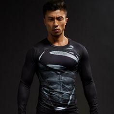 Black Superman Cool 3D Printed Compression Long Sleeves Gym T-shirt  #Black #Superman #Cool #3D #Printed #Compression #Long #Sleeves #Gym #T-shirt