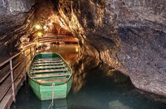 Underground river in the caves of Remouchamps, Belgium     that water is COLD!