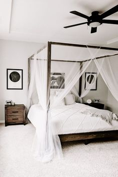 White Bedroom with DIY Canopy Bed Clean and simple is so popular, especially when trying to create a relaxing bedroom. A canopy bed can take the relaxation up a notch giving your bedroom a resort feel. Canopy Bedroom, Diy Canopy, Home Decor Bedroom, Bedroom Ideas, Bed Ideas, Bed With Canopy, Bedroom Designs, Modern Bedroom, Modern Canopy Bed