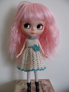 Crochet dress for Blythe, Momoko and similar sized dolls Doll Clothes