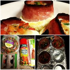 Turkey Bacon Egg Muffins. 12g protein, 5 grams fat, 120 calories. Spray cupcake tin, wrap bacon around the inside of each compartment, crack egg inside of bacon, top with pico. Bake at 400 degrees for 15-20 mins :)