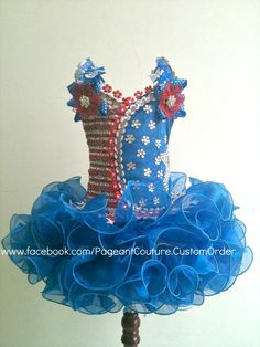 Blue Glitz Pageant Dress - Made to Order - N.02.US. $360.00, via Etsy.