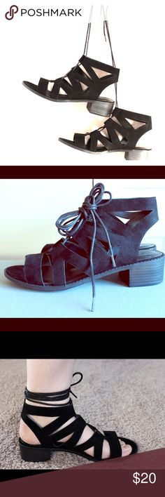 Lace-up heeled sandals Black lace up sandals with a small heel and a tie that wraps around your ankles. Super comfortable, looks great with jeans and dresses! Wild Diva Shoes Sandals