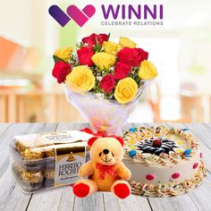 Pamper your loved ones by sending a lovely gift of #cake, #flowers, chocolates and Ferrero Rocher on their special day or any occasion. Go ahead and place your order now from #Winni.