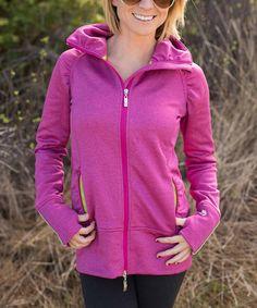 eather Fuchsia Saddleback Zip-Up Jacket