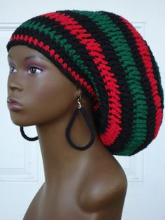 Crochet Cotton Rasta Tam Cap Hat with Drawstring Red by razondalee, $32.00