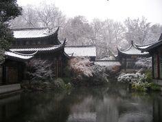 Huangzhou - snow covered lake